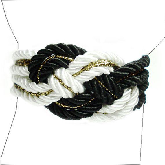 Charm Gold - Braccialetto di raso bianco e nero