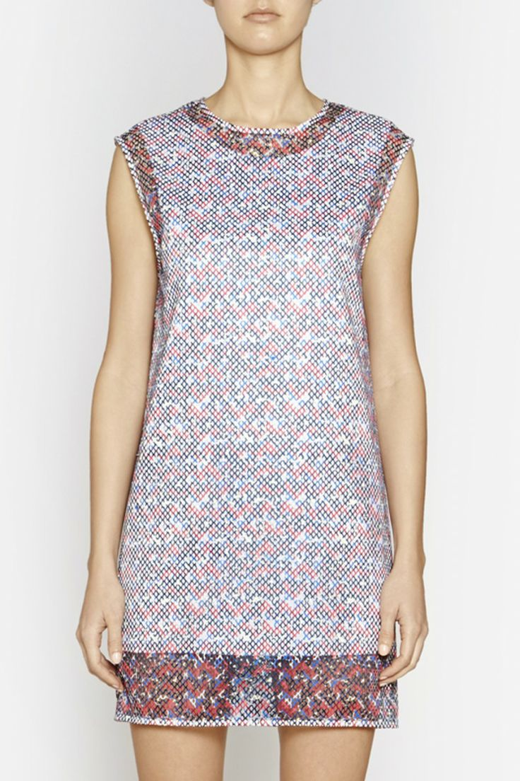 Camilla and Marc | FLAT SURFACE DRESS  US$539.08 Shift-style dress designed in a leopard printed fabric with a laser-cut effect over a white lining. This contemporary piece features a round neckline, extended hemline and heavy duty white zipper at the centre back.