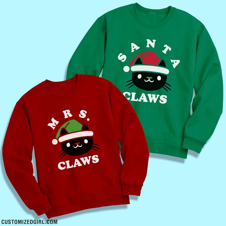 Matching couple ugly sweaters are perfect for Christmas parties! Wear this funny Santa Claws sweatshirt and be sure to get your girlfriend the matching Mrs. Claus sweater to go with this. Wear them together and you'll have the coolest and cutest cat sweatshirts around. #christmassweaters