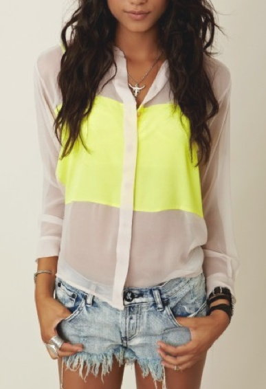 Neon accents.: Blouses, Style, Shirts, Summer Outfits, Neon Colors, Jeans Shorts, Denim Shorts, Colors Blocks, Neon Yellow