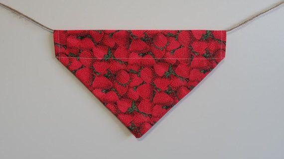 Strawberry dog bandana  over the collar dog by PawsitiveShopping