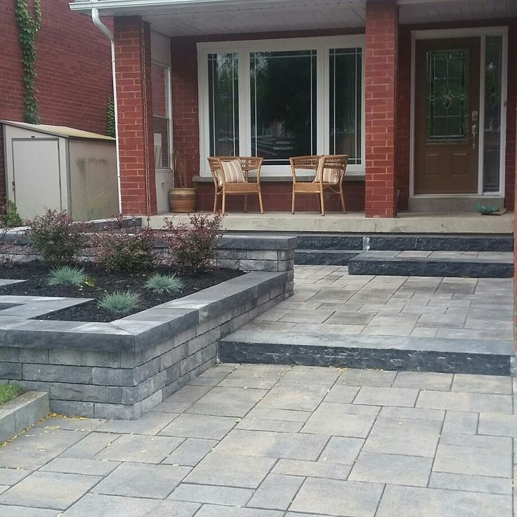 Front entrance, modern design, precast stone.