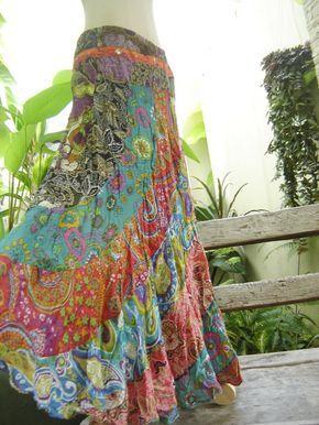 Really pretty- kind of boho and flowy, love this one Algodón Patchwork falda Extra larga - OM1418