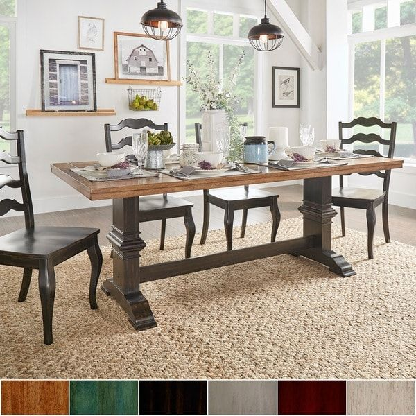 Eleanor Two-tone Rectangular Solid Wood Top Dining Table
