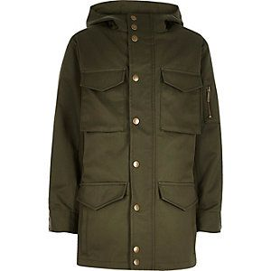 Boys khaki minimal coat