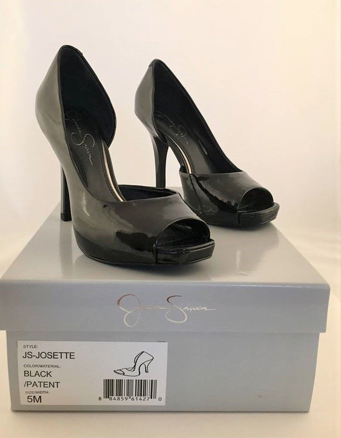 58a0d37a1f019 Jessica Simpson Black Josette D'Orsay Women's Open Toe Pumps Heels ...