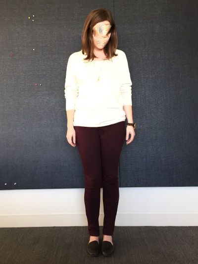 tomlizzo is wearing Gap leather loafers, Uniqlo leggings pants, Talula Astoria sweater.