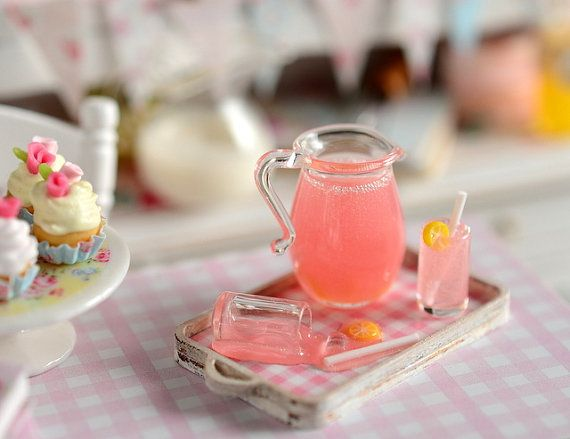 Miniature Pink Lemonade Tray with Spilled Glass by CuteinMiniature