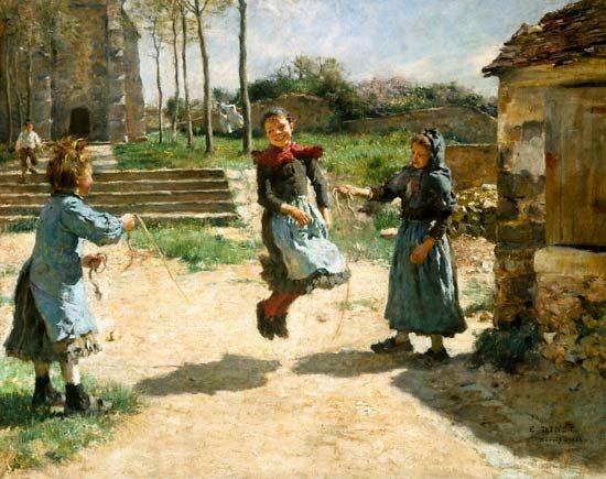 Etienne Dinet - Seilspringende Kinder