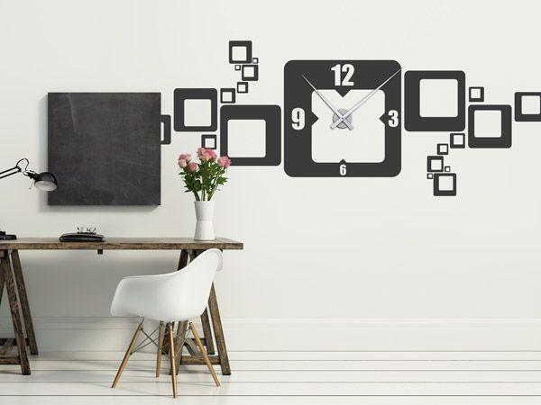 Wanduhr XXL - Breite Uhr im Retro-Design als Wandtattoo zum Aufkleben