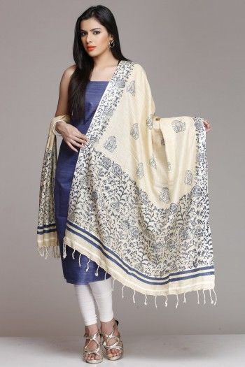 Soothing Blue Khadi Silk Cotton Unstitched Suit With Tribal Hand Block Print