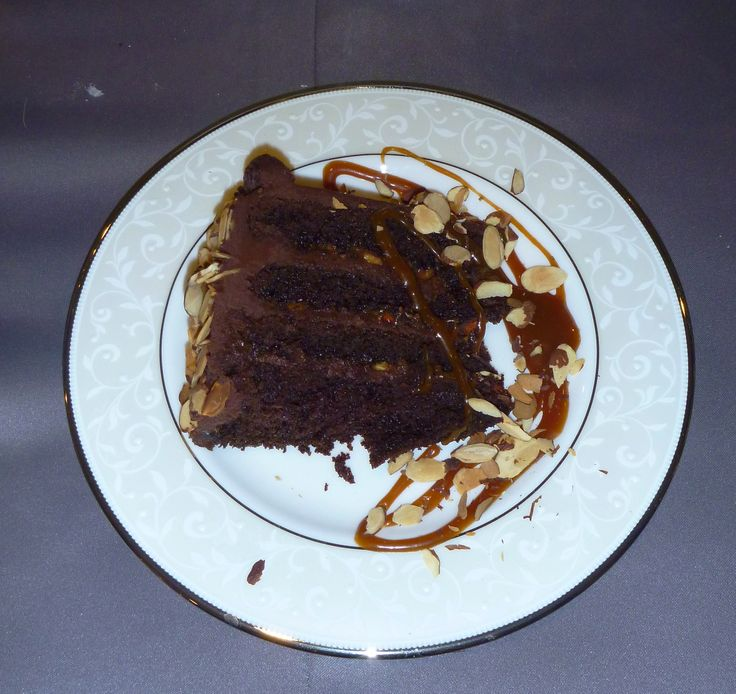 Chocolate Cake with Fleur de Sel Caramel Filling & Toasted Almonds ...