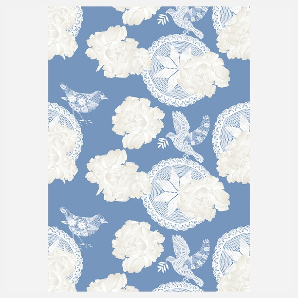 Sophia curtain in blue and silver