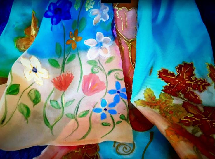 Spring Flowers & Autumn Leaves on Silk with silk dyes, gutta and water colours