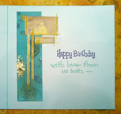 Birthday card from gold-embossed masterboard - card inside 2015
