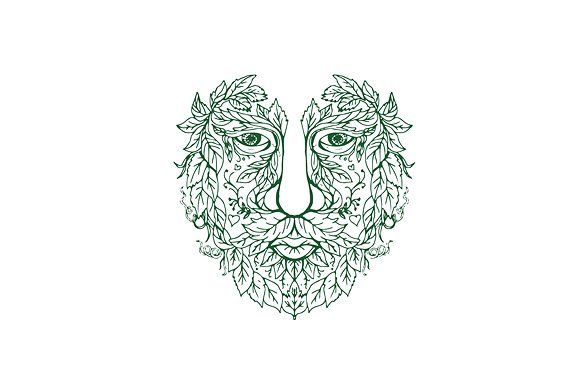 Green Man Head Front Mandala by patrimonio on @creativemarket. Illustration of a Green Man Head  viewed from Front done in hand drawing sketch style Mandala. #illustration #GreenManHead