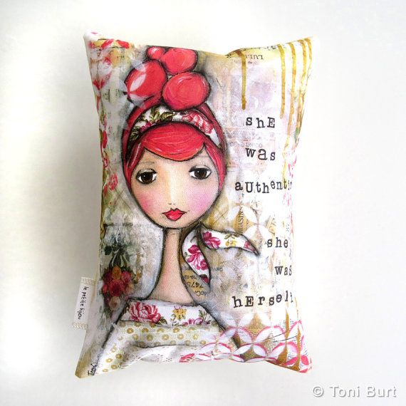unique art accent pillow small cushion by LePetiteBijouDesign