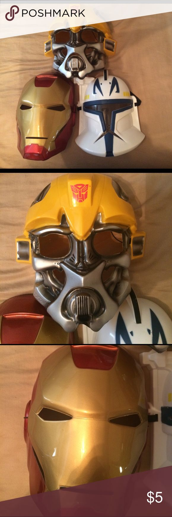 3 dress up masks 1 iron man, 1 transformer and 1 Star Wars dress up masks all in good shape Costumes Superhero