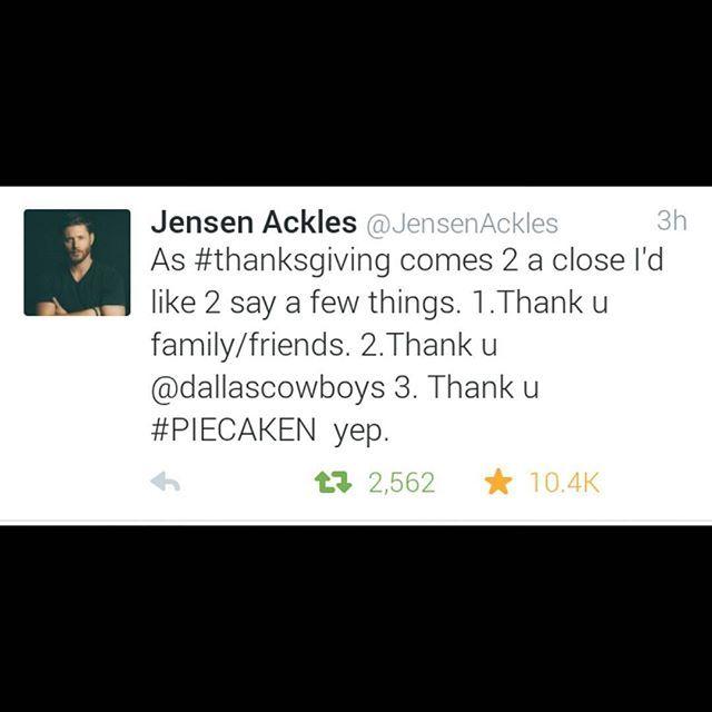 Jensen's new tweet  Cr :Twitter :Jensen Ackles .
