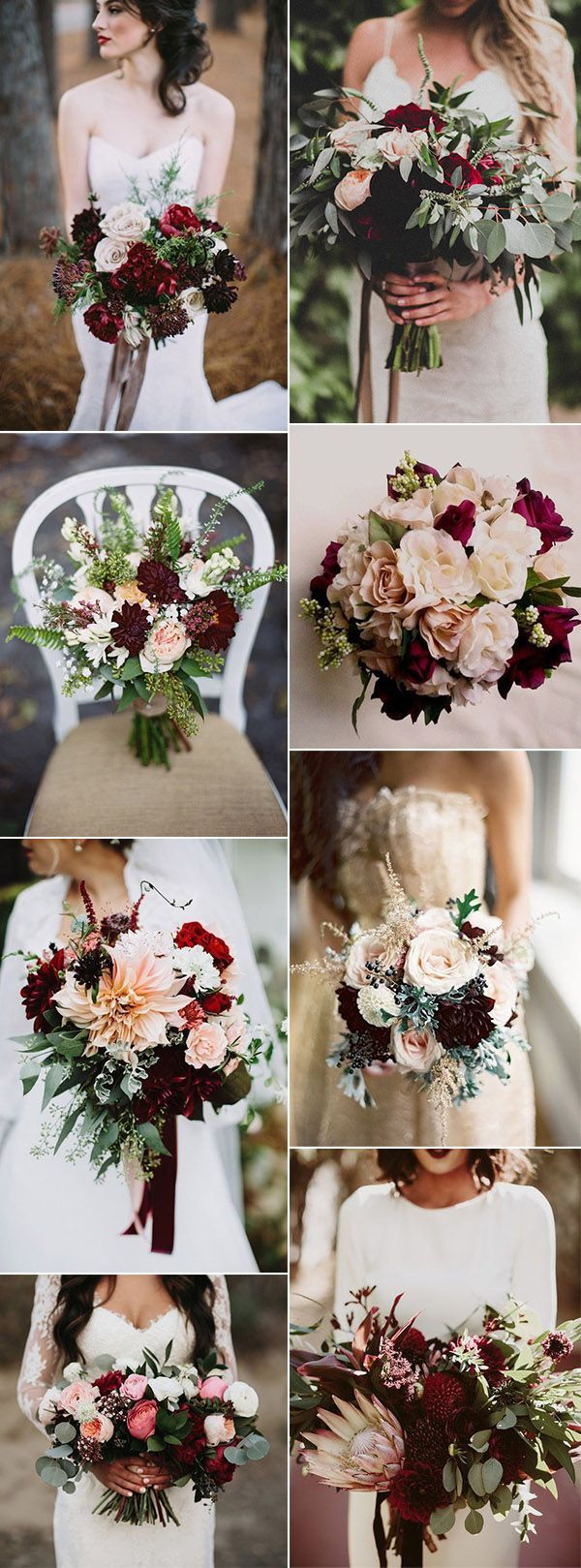 stunning burgundy bridal flower bouquets for all seasons