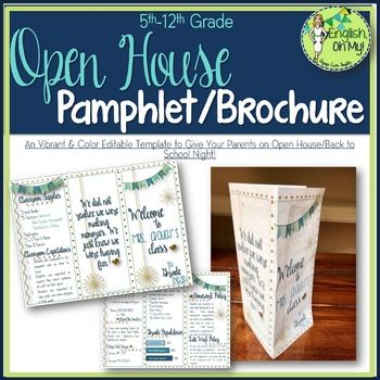 Wow your families with this vibrant and glittery Open House/Meet the Teacher Brochure and Pamphlet! *This trifold pamphlet is complete EDITABLE, and you can add your own information *Categories include: -Teacher Contact Information -About the Teacher -Extra Help Hours -Classroom Supplies -Classroom Expectations -Curriculum -Homework Policy -Late Work Policy *I also included instructions on how to remove the white border