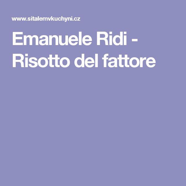 Emanuele Ridi - Risotto del fattore