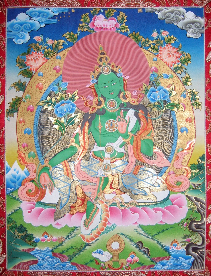 Tibetan Buddhism Green Tara Goddess Of Compassion Thangka Painting Nepal