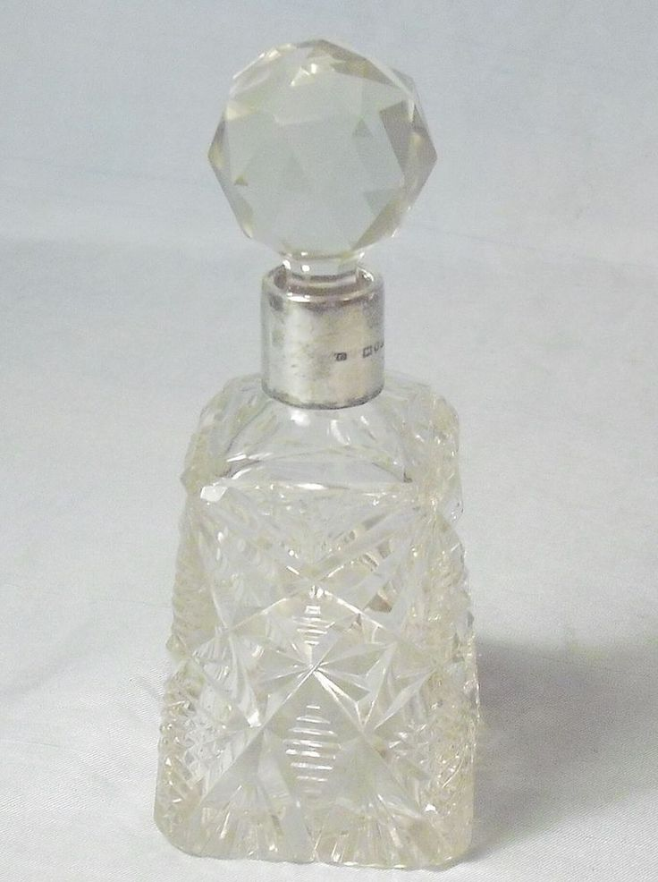 ANTIQUE STERLING SILVER NECK CUT CRYSTAL PERFUME BOTTLE 1917 LONDON WM GROVES #WGGroves