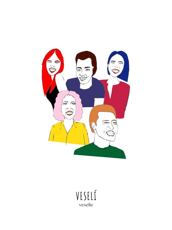 Happy people illustration by Ana Predus for SUB 25 to promote Romanian-Czech Dictionary