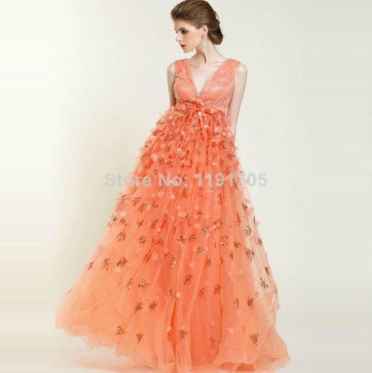 Free shipping Elegant  V-neck  Beading Orange Prom dress 2014 A-line Floor Length Evening Gowns 2014 New Fashion $328.00