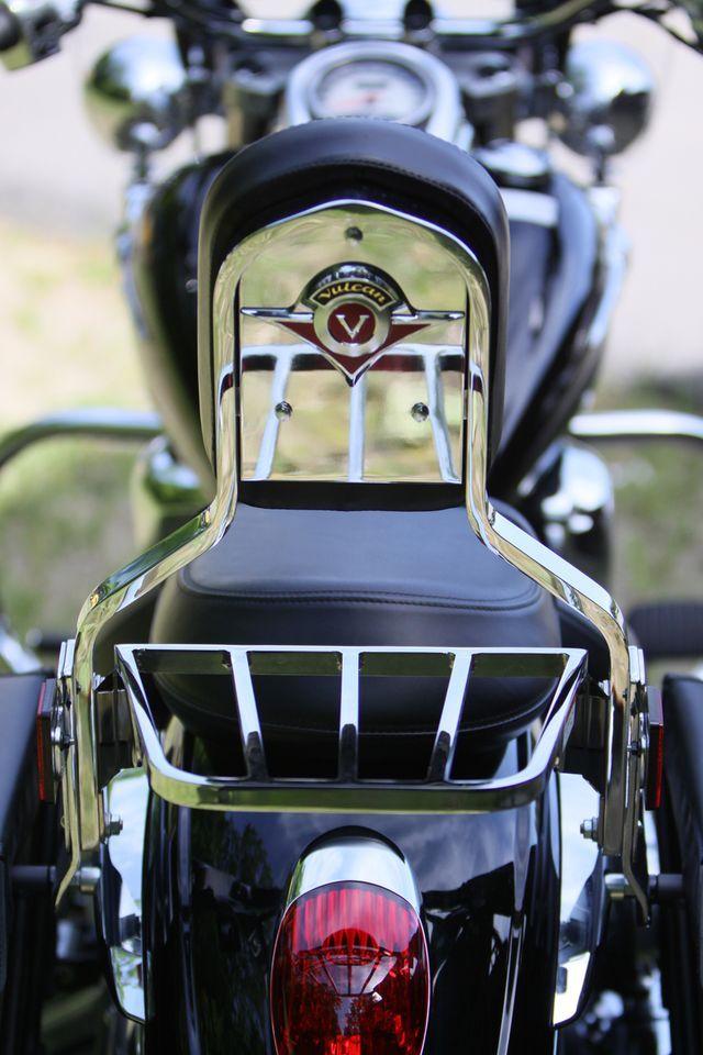 A detail shot of the 2009 Kawasaki Vulcan 900 backrest.