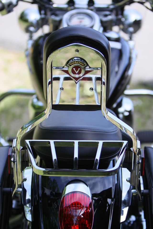 A detail shot of the 2009 Kawasaki Vulcan 900 backrest.