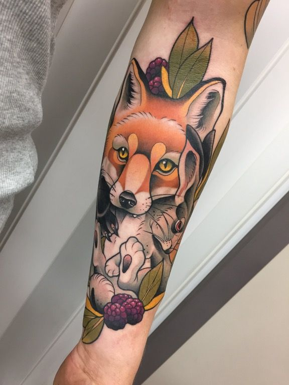 My fox and rabbit. 2nd session of my sleeve by Alvaro Alonso, Malibu Tattoo, Barcelona. : tattoos