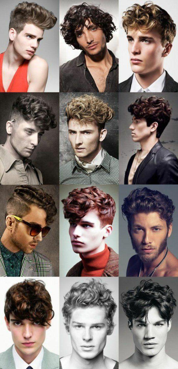 tolle ideen fuer herrenfrisuren, lockiges haar, locken stylen, mittellange haarschnitte
