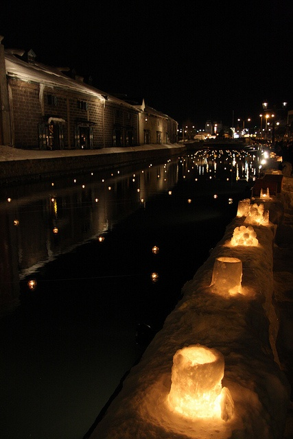 Otaru canal, Hokkaido, Japan, with snow candles