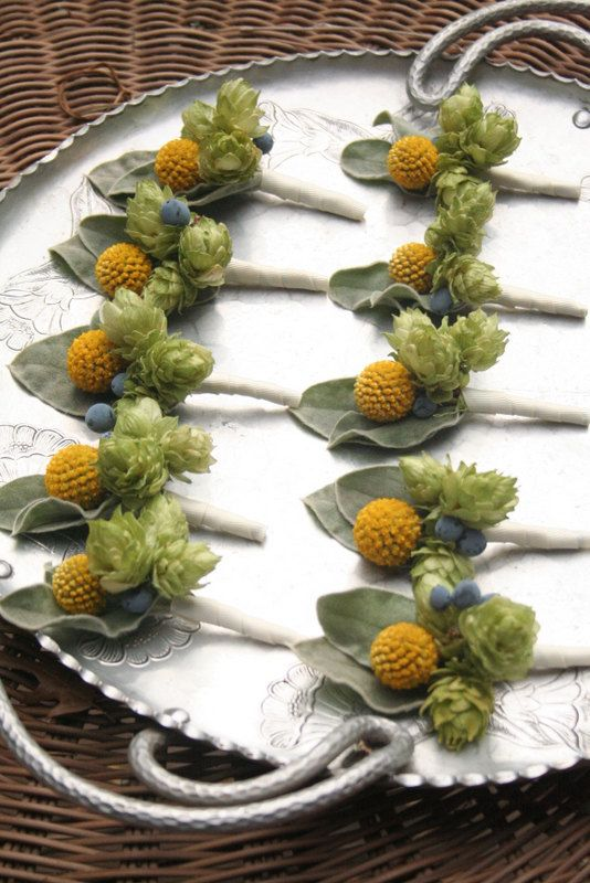 Boutonniere Craspedia hops and Oregon grape by bohemianbouquets, $15.00