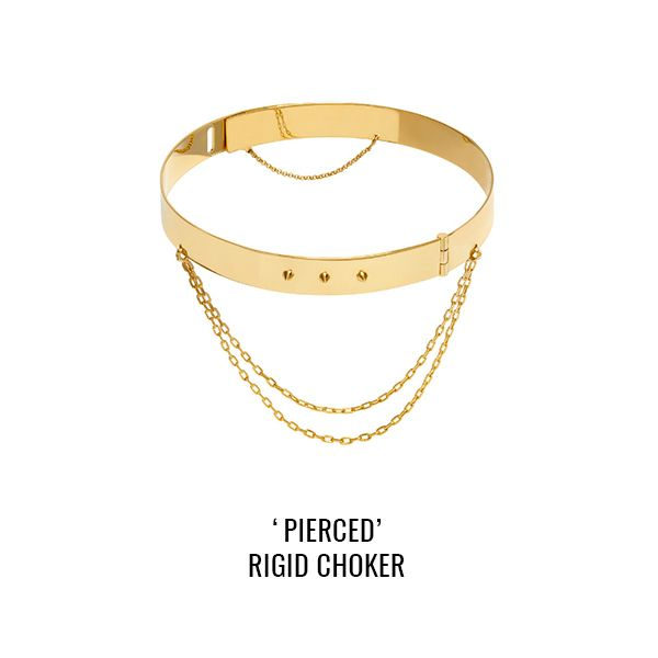 'Pierced' rigid choker: a rigid choker with studs details and dangling chains. Closing with spring lock and secure chain at the back.