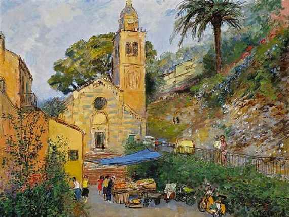 Michele Cascella - The Church of Saint Martin (Divo Martino), Portofino