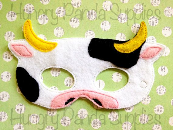 Cow Felt Mask Embroidery Design, cow mask, cow machine embroidery, ITH mask, in the hoop mask, mask embroidery, 5x7, 6x10