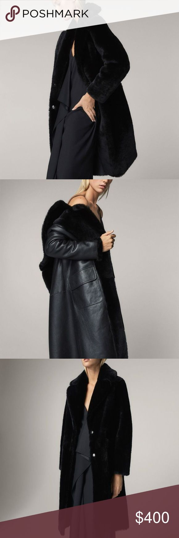 NEW Massimo Dutti REVERSIBLE MOUTON FUR COAT S Reversible, mouton coat, made from Spanish sheepskin leather. The main model features a straight fit, notched lapels, concealed fastening with two snap buttons, two side pockets and long sleeves. The contrasting model features a straight fit, notched lapels, concealed fastening with two snap buttons, two side patch pockets with flaps and long sleeves.  Brand New. Massimo Dutti Jackets & Coats