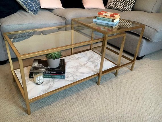 Sara   Gold And Faux Marble Coffee Table By Olive Jennings Furniture   MADE  TO ORDER