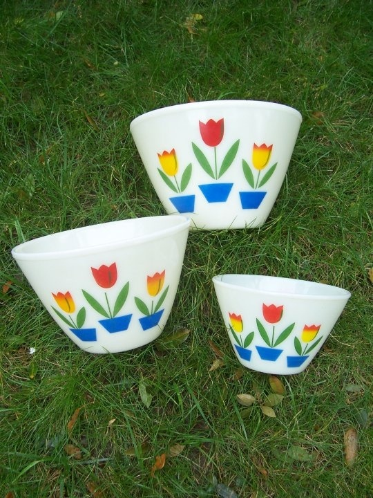 Vintage Fire King Tulip Mixing Bowls. I received these from my husband's grandparents and I just love them.