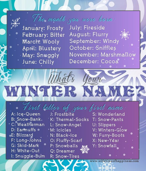 What's your name game!  What is your Wintery Name?