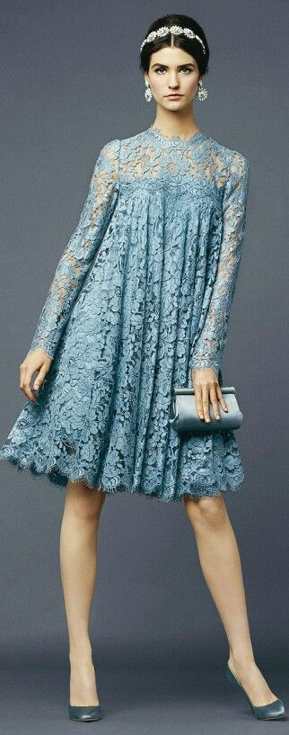 My mom made a dress similar to this, for me when I was around 10 years old. She made it out of 2 old dresses of hers. Loved that dress! Have a school picture taken in it. Wish I still had it. Would be lovely in ivory or even this blue for a 2nd wedding. Dolce Dolce Gabbana * SS 2014 RTW Beautifuls.com Members VIP Fashion Club 40-80% Off Luxury Fashion Brands
