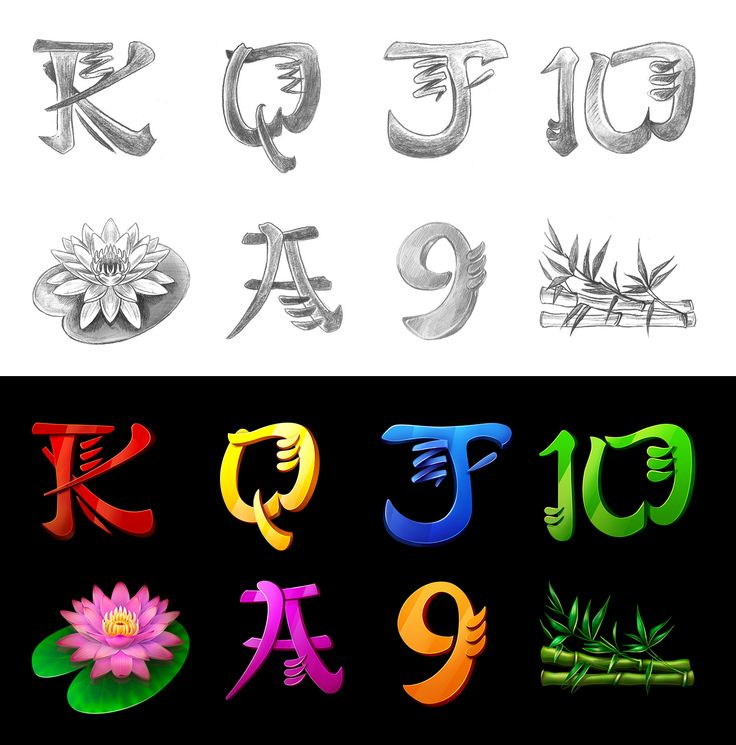 "Graphic design of symbols for the game slot-machine ""Lung fu""  http://slotopaint.com/"