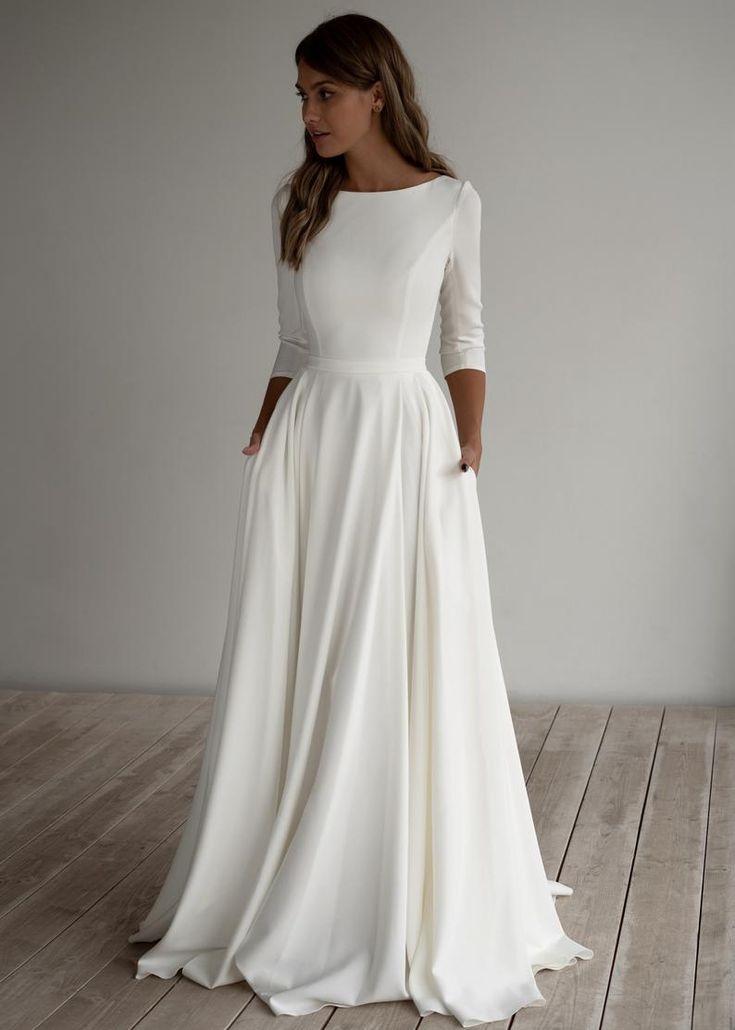 Adri by Olivia Bottega Boat Neckline Crepe Wedding Gown  | Etsy | Minimalist dresses, Wedding dress trends, Wedding dress long sleeve
