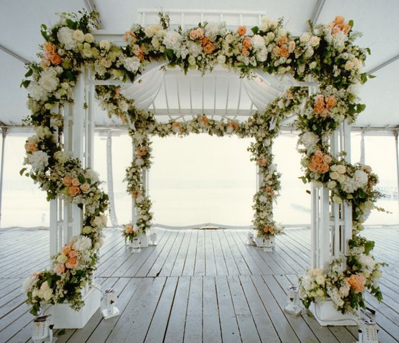 floral garland Wedding Ceremony www.tablescapesbydesign.com https://www.facebook.com/pages/Tablescapes-By-Design/129811416695
