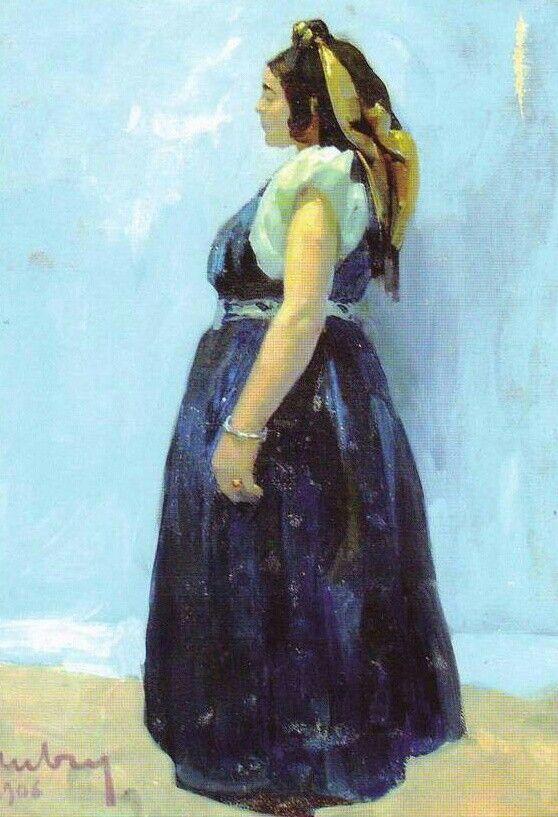 Algérie - Peintre Français,   Émile Aubry(1880-1964), huile sur toile 1946, Titre: juive de Constantine - Conservation: Musée Cirta , Constantine