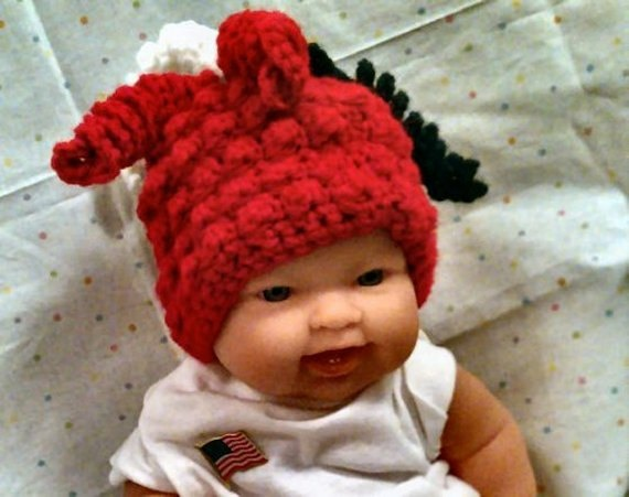 Crochet Newborn Red Patriotic Hat with Red White by PostsNPurls, $20.00
