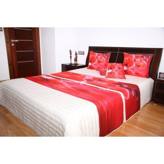 Přehoz na postel krémové barvy s motivem červených orchidejí - dumdekorace.cz